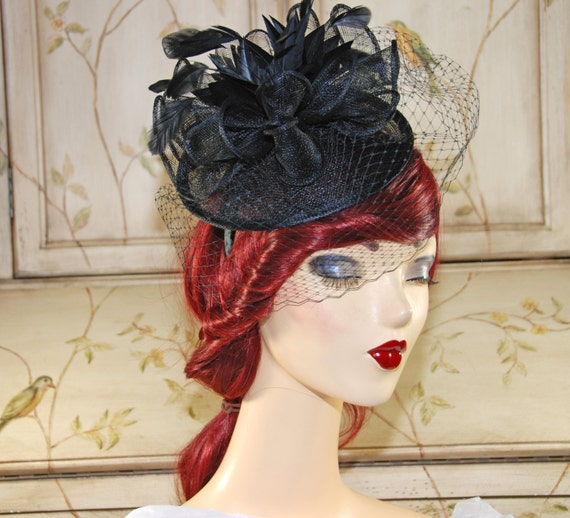 Black Fascinator Kentucky Derby Hat Tea by MadameMerrywidow