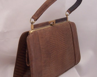Vintage Lizard Leather Handbag Purse Brown