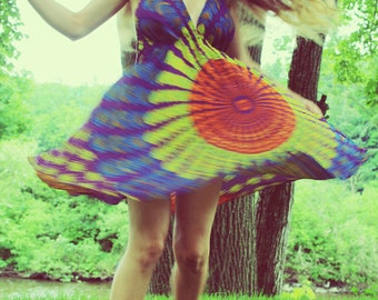 Handmade Hippie Dress, Tunic Top, Mini Dress, Backless Dress, Festival, Bohemian, Hula Hoop Dress, Peacock Dress, Festival, Mandala