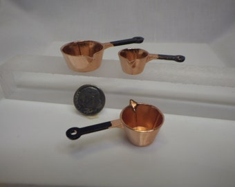 Set of 3 Copper Pots and Pans for Fairy Garden or Dollhouse Cooking Fun