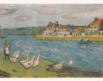 Vintage Sisley (Geese on the shore) Postcard - 1961, Izogiz Publ.