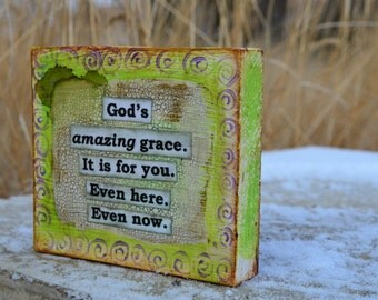 Amazing Grace.  Inspirational word art on wood by Jodene Shaw