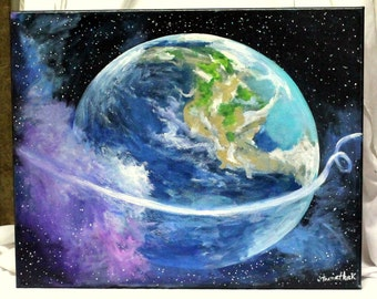 "Mother Earth Art, original painting, acrylic painting,16"" x 20"" stretched canvas, Deep space art, planet art, earth art, cosmic art"