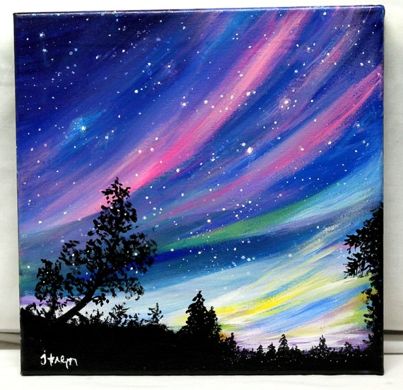 8x 10 print from original northern lights by thisarttobeyours for Pretty acrylic paintings