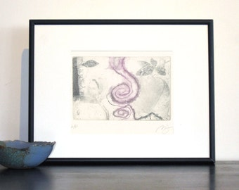 Original Etching Print CURVES Abstract Face Leaves Aquatint Printmaking Wall Decor Fine Art Print Limited Edition 9X7