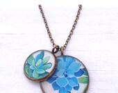 Succulents - Botanical Cluster Necklace - blue green floral art pendant - succulent jewelry