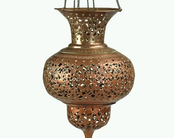 Antique Pierced Copper and Brass Hanging Lantern
