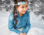 Elsa headband, elsa bow, frozen headband, snowflake headband . Sparkle headband,  Infant, toddler, child, adult sizes