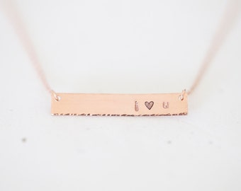Personalized Rose Gold Name Plate Bar Necklace - customized name plate in gold, rose gold, or sterling silver