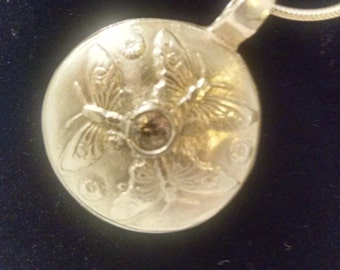 Handcrafted Fine Silver Pendant with a diamond CZ Necklace