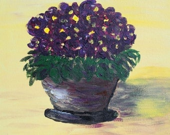 """Violets small painting, African violets original painting, yellow purple still life, violets house plant, dark purple flowers 8' x 8"""""""
