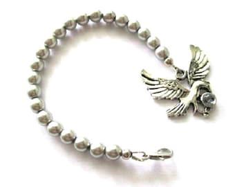 Eagle bracelet grey pearl jewelry beaded bracelet antiqued silver