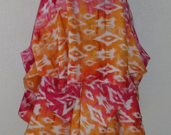 Festival Skirt in Stunning Sunset Shades of Fuchsia, Orange and Gold Hand Dyed Ikat Pattern Rayon Signature Ballerina With A Gun Skirt