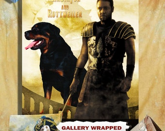 Rottweiler Vintage Art Poster Canvas Print - Gladiator Movie Poster NEW Collection by Nobility Dogs