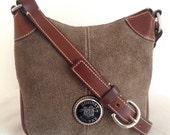Vintage Dooney & Bourke Small Dark Taupe Suede Shoulder Bag Cross Body