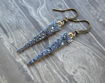 Crushed Crystal Druzy Long Arrow Earrings