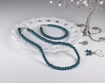 Teal Pearl Bridesmaid Jewelry Set Bridal Wedding Necklace Bracelet Earrings