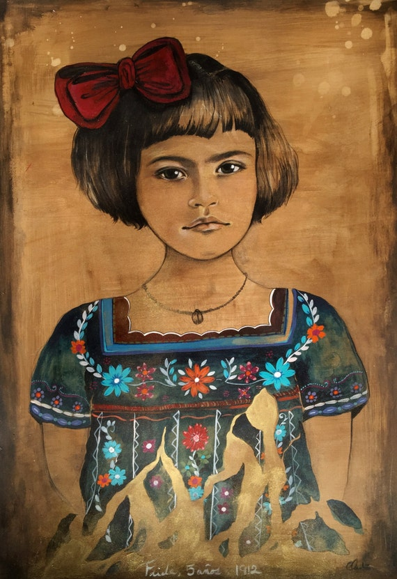 young frida with gold art print