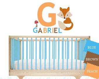 Fox Wall Decal - Fabric Wall Decal - Baby Nursery Decor Fox Art - Peel & Stick - Woodland Art for kids Room - Fox Nursery Art
