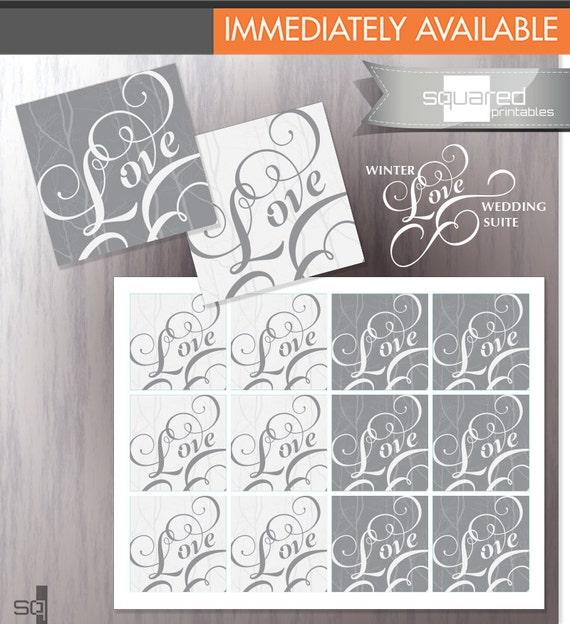 Winter Love Wedding Invitation Printable LOVE Envelope Seals