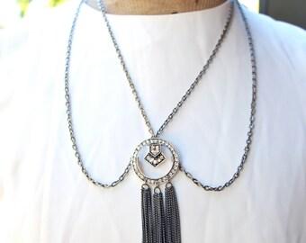Gunmetal Chainmaile Tassel Pendant Necklace with Rhinestones