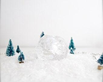 Vintage Kosta Boda Scandinavian Modernist Icy Glass Snowball Candle Holder // Ann Warff // Small Size