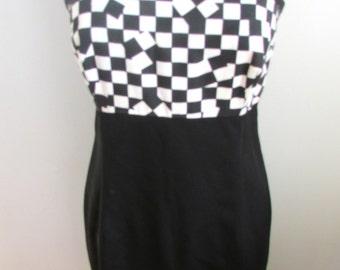 Vintage 1990's Dress l Black and White Checkered Dress l Size Small/Medium l Vintage Dress