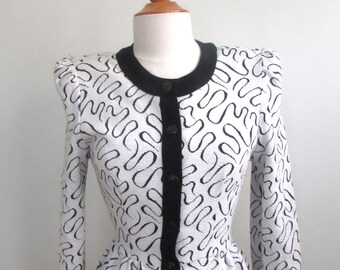 Vintage 80's Black and White Peplum Button Up Shirt Size S
