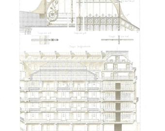 1873 French Architectural Print Magasins de la Belle Jardiniere, Paris Antique Engraving