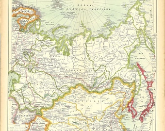 1930s Vintage Map of Asian Russia