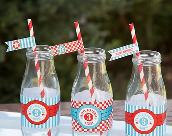 Airplane Birthday Decoration Straw Pennant Flags - Red & Teal - PERSONALIZED