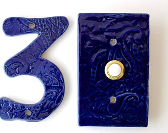Rectangle Doorbell Tile Plate Cover with Standard Button - Paisley Design - Custom Color Choice - Handmade Modern Home Decor - MADE TO ORDER