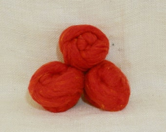 Needle felting wool batting in Poppy, wool batting, felting supplies, poppy fleece wool batting in Poppy, coral orange, wool for spinning,