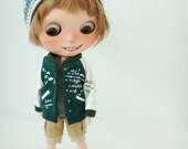 Miss yo baseball jacket for Blythe doll - doll outfit - Green - 4 types in