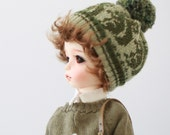 Miss yo Squirrel Pattern Knitted Hat for for YoSD 1/6 BJD / Jerry Berry - doll outfit / cloth - Green