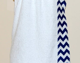 Monogrammed Towel Wrap with Navy and White Chevron Trim