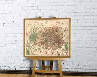 Old map of Paris - Paris map - Fine reproduction