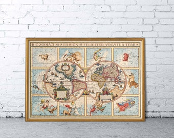 Zodiacal map - Zodiacal world map - Old map of the world - Wall decor
