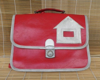 Vintage 1980s Red And White Faux Leather Small Size Kid's School Bag Backpack