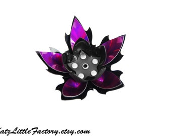 Large Cyber Flower in Black and Purple Mirror Metallic Iridescent PVC Spiky Studded Hairpiece Gothic Industrial Hair Clip