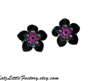 Pair Small Cyber Flower Hair Clips - Black with Iridescent Mirror Purple Dot PVC Studded Gothic Industrial Mechanical Flowers