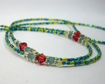 Beaded Lanyard Seaside, Eyeglass Chain, Teacher or Nurse ID Lanyard, Spectacles Holder, Sunglasses Holder, Corals and Blues