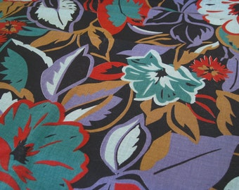 """Vintage Fabric - Big Tropical Flowers on Black - 62""""L x 44""""W - 1970's - Peter Pan Fabrics - Retro - Sewing Material - Craft Supply"""