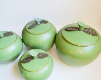 Apple Canisters Green Apple Canisters Aluminum Canisters Apple Canister Set Green Kitchen grüner Apfel Set of 4