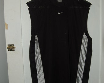 Black and Silver Reflective Nike Mesh Tank Top Sleeveless Shirt Adult Medium Swoosh Logo 90s Vintage