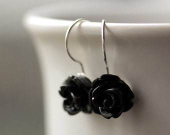 Black Rose Earrings. Dangle Earrings. Black Earrings. Black Flower Earrings. Silver Lever Back Earrings. Handmade Jewelry.