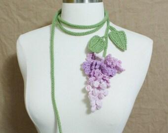 Unique Crochet, Crochet Lilac Lariat Necklace