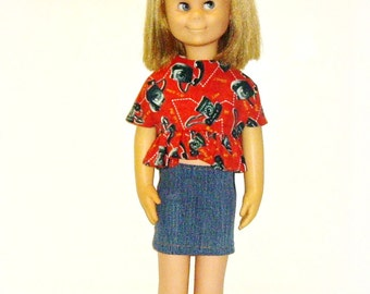 Handmade Doll Clothes for Vintage Charmin Chatty Doll, 24 inch Doll Outfit, Red Top and Blue Jeans Skirt