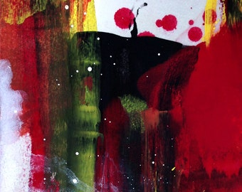 Oil painting original abstract on paper, red, yellow, green, expressionist, spot