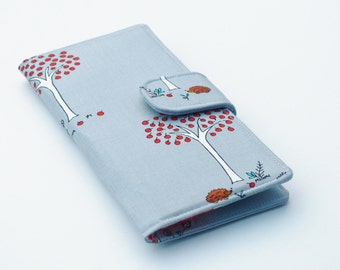 Vegan Wallet, Woodland Theme Clutch, Hedgehogs and Apple Trees, Grey and Red